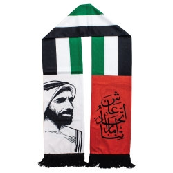 UAE Flag Scarf with Sheikh Zayed Photo