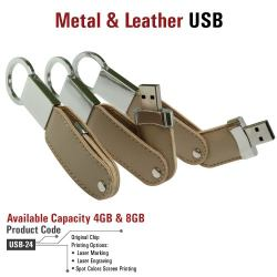 USB Flash Drives with Key Holder and Leather Cover