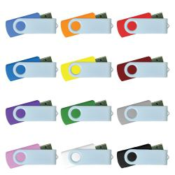 USB FLASH DRIVES WITH WHITE SWIVEL 16GB
