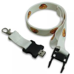 USB Lanyard 2 cm White Color with Hook
