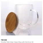 Double Wall Clear Glass Mug with Bamboo Lid