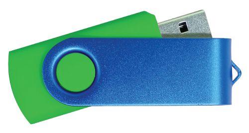 USB Flash Drive Green with Blue Swivel 32GB
