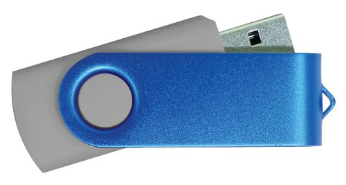 USB Flash Drive Grey with Blue Swivel