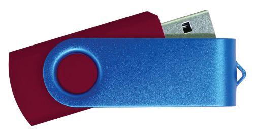 USB Flash Drive Maroon with Blue Swivel 32GB