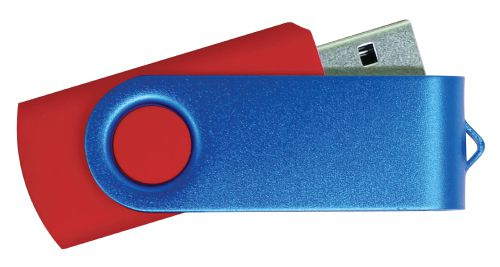USB Flash Drive  Red with Blue Swivel 8GB