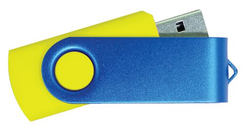USB Flash Drive Yellow with Blue Swivel 8GB