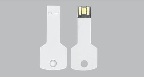 USB Flash Drives Key Shaped - White