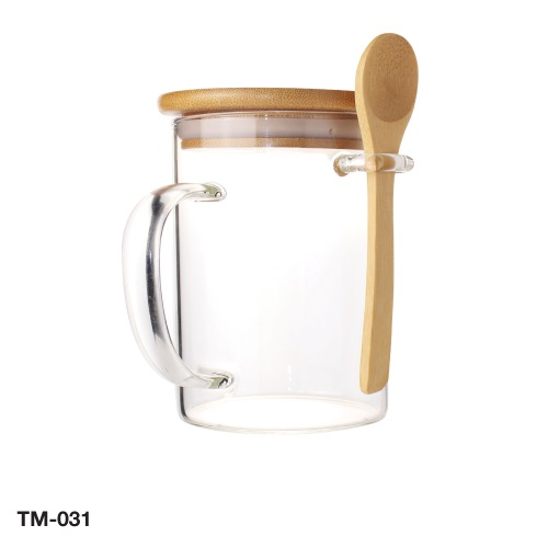 Clear Glass Mugs with Bamboo Lid and Spoon