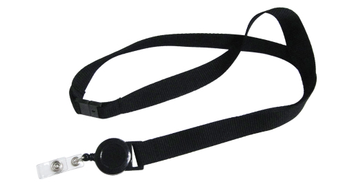 Lanyard with Reel Badge and Safety Lock Black