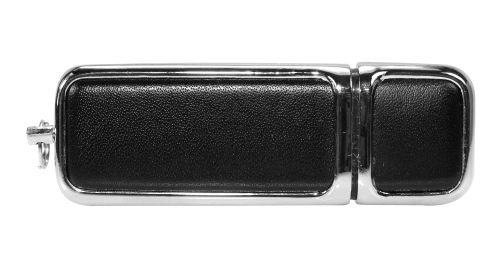 Leather with Chrome USB Flash Drive Black Color