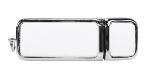 Leather with Chrome USB Flash Drive White Color