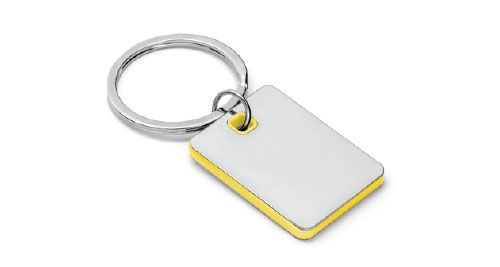 Metal Keychains Square Yellow