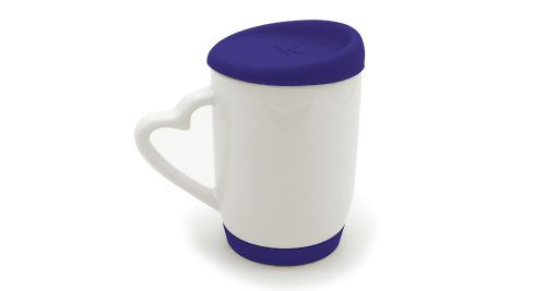 MUGS WITH SILICONE CAP AND BASE BLUE