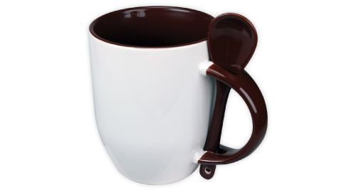 Mug with Spoon Dark Brown - 170-BR