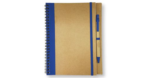 Recycled Notepad with Pen - Blue