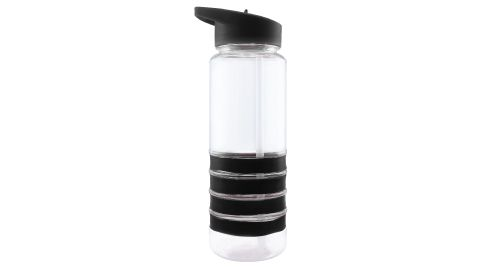 Bottle with Straw and Black Bands
