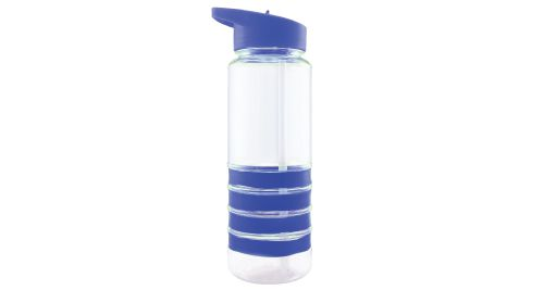 Bottle with Straw and Blue Bands