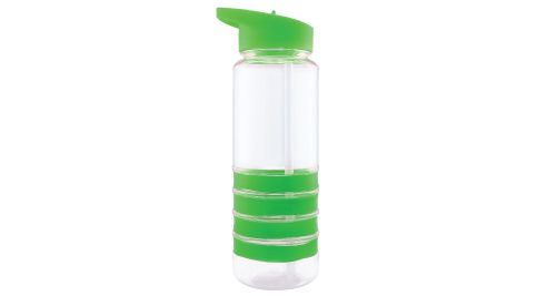 Bottle with Straw and Green Bands