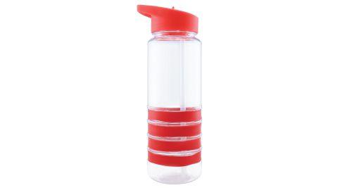 Bottle with Straw and Red Bands