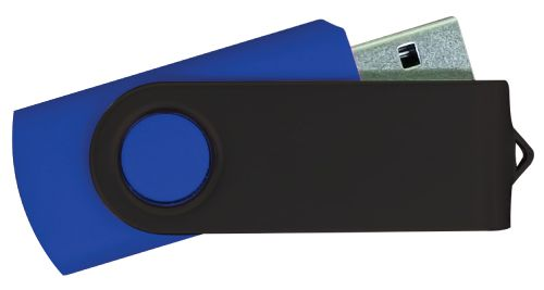 USB Flash Drives - Navy Blue with Black Swivel 8GB