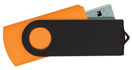 USB Flash Drives - Orange with Black Swivel 8GB