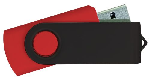 USB Flash Drives - Red with Black Swivel 8GB