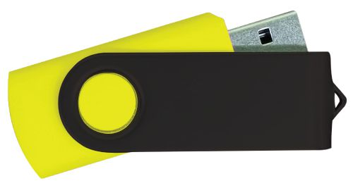 USB Flash Drives - Yellow with Black Swivel 8GB