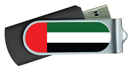 UAE Flag Swivel USB Flash Drives Black