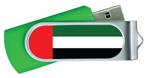 UAE Flag Swivel USB Flash Drives Green