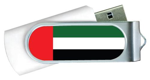 UAE Flag Swivel USB Flash Drives White