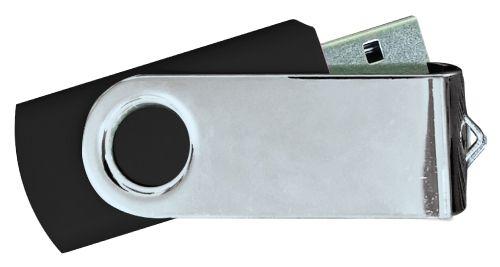 USB Flash Drives Mirror Shiny Silver Swivel - Black 8GB