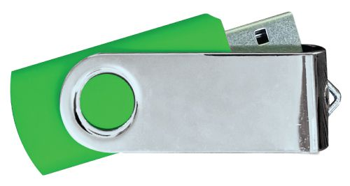 USB Flash Drives Mirror Shiny Silver Swivel - Green 8GB