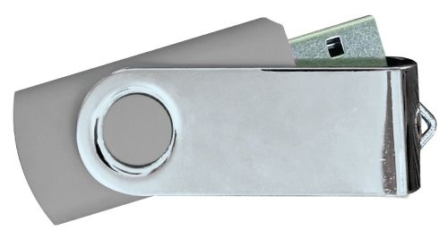 USB Flash Drives Mirror Shiny Silver Swivel - Grey 8GB