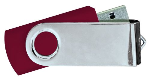 USB Flash Drives Mirror Shiny Silver Swivel - Maroon 8GB