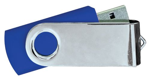 USB Flash Drives Mirror Shiny Silver Swivel - Navy Blue