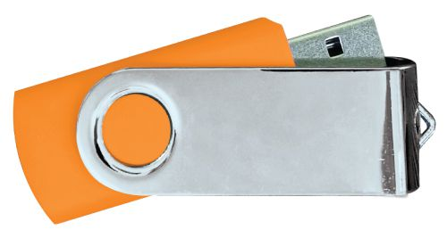 USB Flash Drives Mirror Shiny Silver Swivel - Orange 8GB