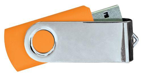 USB Flash Drives Mirror Shiny Silver Swivel - Orange 16GB