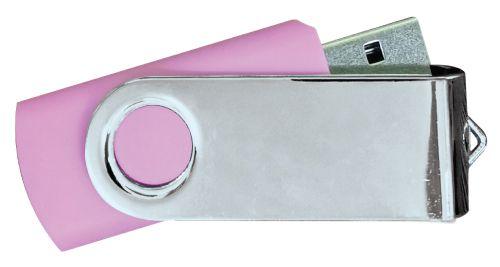 USB Flash Drives Mirror Shiny Silver Swivel - Pink