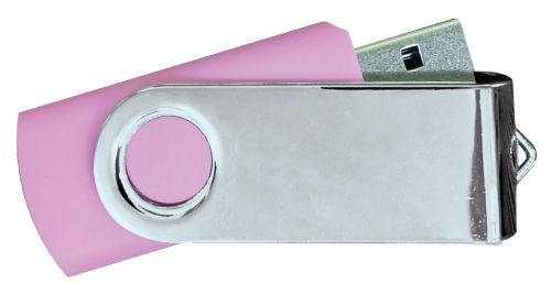 USB Flash Drives Mirror Shiny Silver Swivel - Pink 8GB
