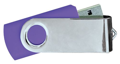 USB Flash Drives Mirror Shiny Silver Swivel - Purple 8GB