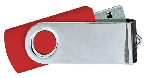 USB Flash Drives Mirror Shiny Silver Swivel - Red