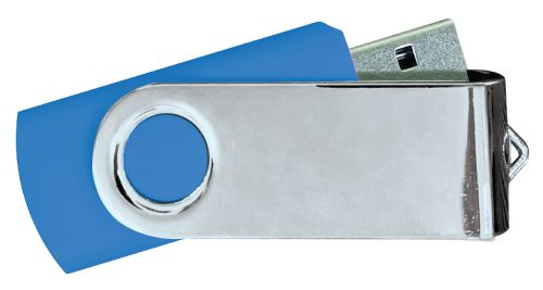 USB Flash Drives Mirror Shiny Silver Swivel - Royal Blue 8GB