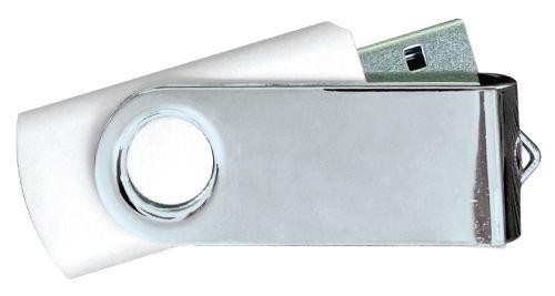 USB Flash Drives Mirror Shiny Silver Swivel - White