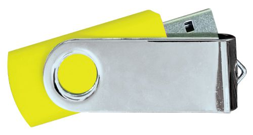 USB Flash Drives Mirror Shiny Silver Swivel - Yellow 8GB