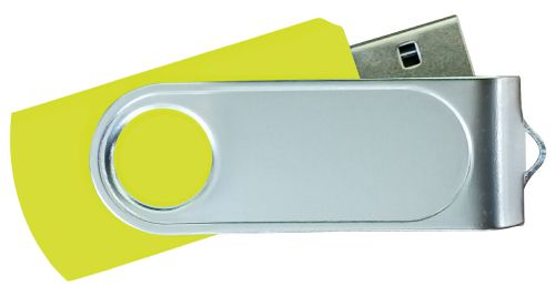 USB Flash Drives Swivel with 1 Side Epoxy Logo - Yellow 32GB