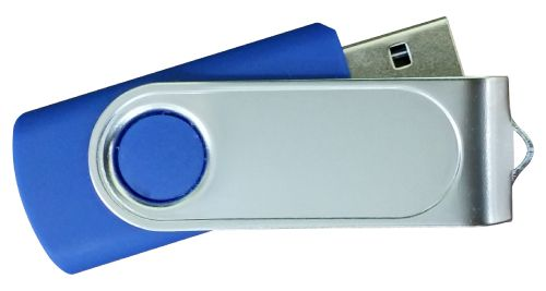 USB Flash Drives with 2 Sides Epoxy Logo - Royal Blue 32GB