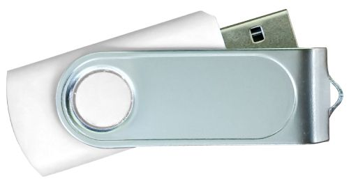 USB Flash Drives with 2 Sides Epoxy Logo - White 4GB