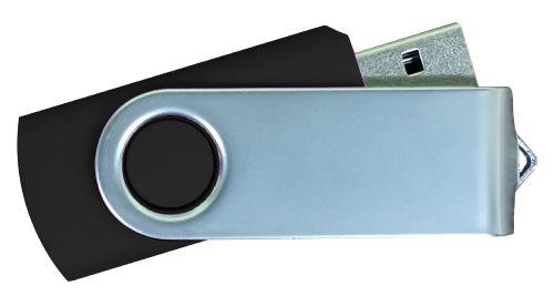 USB Flash Drives Matt Silver Swivel - Black 16GB