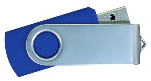 USB Flash Drives Matt Silver Swivel - Navy Blue 16GB