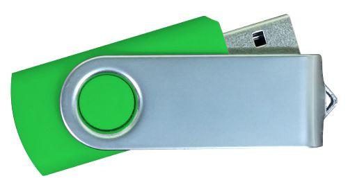 USB Flash Drives Matt Silver Swivel - Green 8GB